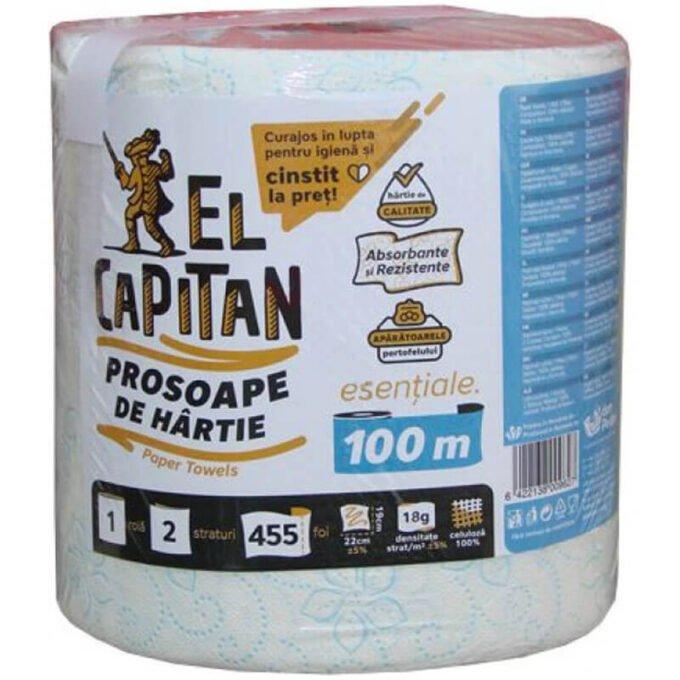Prosop hartie cu 2 straturi, 455 foi 100% celuloza (rola 100 m) - El Capitan
