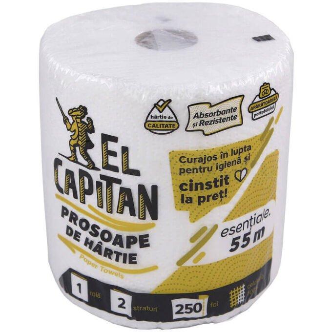 Prosop hartie cu 2 straturi, 250 foi 100% celuloza (rola 55 m) - El Capitan