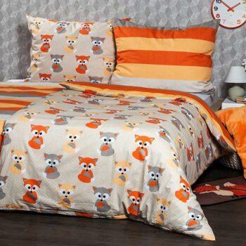 Set lenjerie de pat tesatura din bumbac 100% cu imprimeuri vulpite