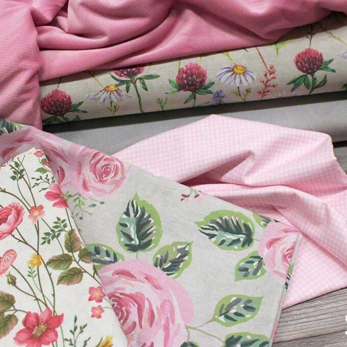 Material textil gros din bumbac si poliester pentru draperii cu imprimeuri florale