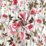 Material textil gros din bumbac si poliester cu imprimeuri florale