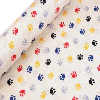 Material textil gros din bumbac si poliester cu imprimeu labute colorate