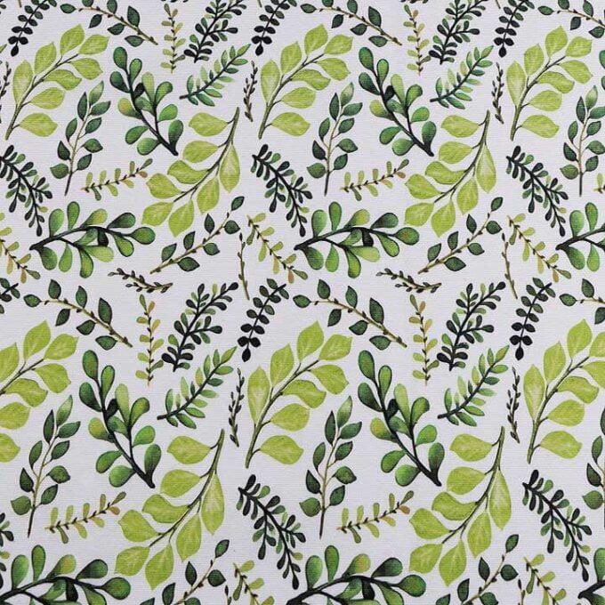 Material textil bumbac gros motiv frunze verzi