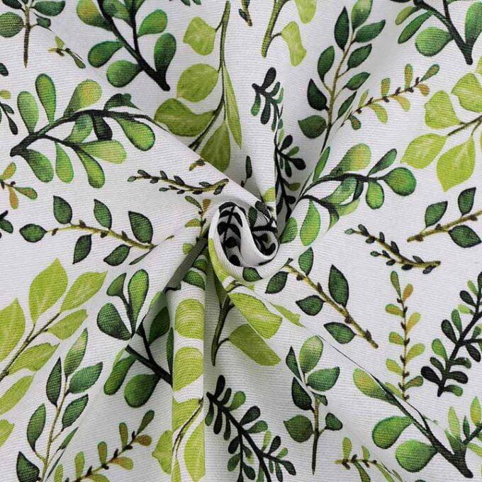 Material textil bumbac gros motiv frunze